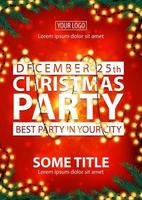 Christmas party, best party in your city, red poster with white letters, blurred background, Christmas tree branches and garland