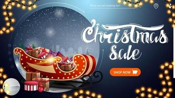 Christmas sale, beautiful blue modern discount banner with winter landscape, button, garland and Santa Sleigh with presents