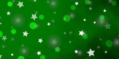 Light Green vector background with circles, stars.