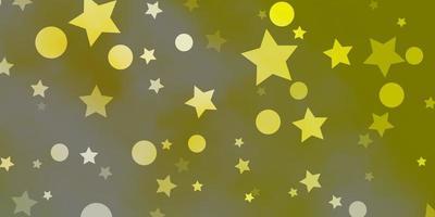 diseño de vector verde claro, amarillo con círculos, estrellas.