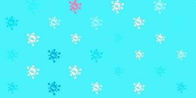 plantilla de vector azul claro, rojo con signos de gripe.