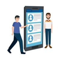 young men and smartphone with chat isolated icon vector