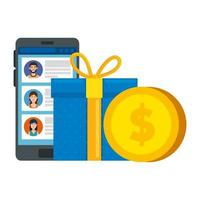 gift box with smartphone and coin isolated icon vector