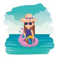 niña con flotador flamenco y globo de playa en el mar vector
