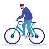 hombre montando bicicleta diseño vectorial