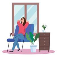 mujer sentada en el asiento en casa diseño vectorial