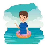cute little boy with shirt and donut float on the sea vector