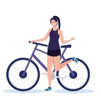 mujer con diseño de vector de bicicleta