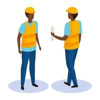 builder man from front and back side isometric vector design