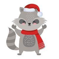 Dibujos animados de mapache con diseño de vector de sombrero de feliz navidad