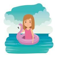 linda niña dama con flotador flamenco en el mar vector