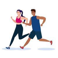 mujer corriendo con diseño de vector de perro