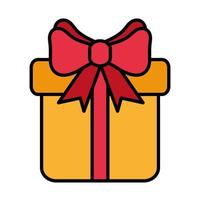 happy merry christmas gift line and fill style icon