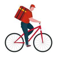 trabajador de entrega en carácter de bicicleta vector