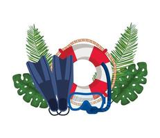float lifeguard with leafs palm and diving equipment