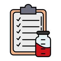 checklist with blood in bottle line and fill style vector