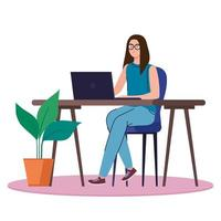 woman with laptop working vector design