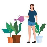 mujer regando plantas diseño vectorial