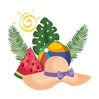 sombrero de verano de paja con palmeras y sandía vector