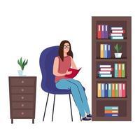 mujer leyendo en el asiento de diseño vectorial