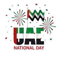 Uae national day with flag and fireworks vector design