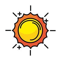 sun line and fill style icon vector