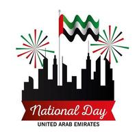Uae national day with city buildings fireworks and flag vector design