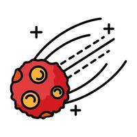 línea de vuelo de meteorito y estilo de relleno vector