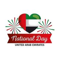 Uae national day with heart and fireworks vector design