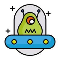 alien character in ufo line and fill style icon vector