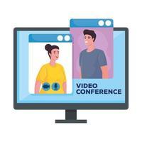 couple in desktop for meeting online in display vector