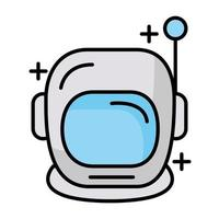 astronaut helmet line and fill style icon vector