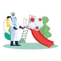 Man with protective suit spraying park slider with covid 19 virus vector design