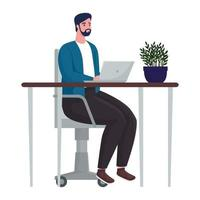 man using laptop computer for meeting online in the office vector