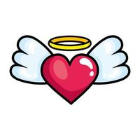 heart with wings pop art style icon vector