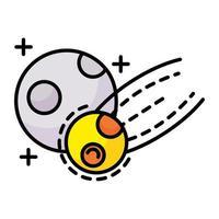 meteorito volando con la línea de la luna y el icono de estilo de relleno vector