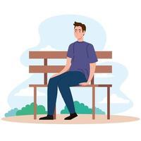 man sitting on bench at park vector design
