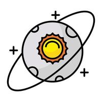 moon and sun line and fill style icon vector