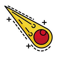 meteorito volando con línea de llamas e ícono de estilo de relleno vector
