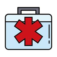 medical kit with cross line and fill style vector