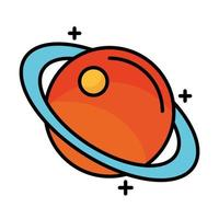 saturn planet line and fill style icon vector