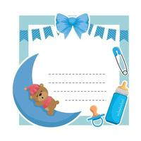 baby shower card with bear sleeping in moon