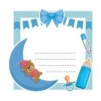 baby shower card with bear sleeping in moon vector