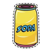 icono de etiqueta de arte pop de lata de refresco vector