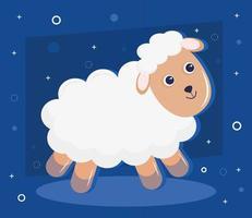 Cute little sheep animal kawaii personaje en fondo azul. vector