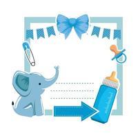 tarjeta de baby shower con elefante y biberón vector