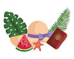 sombrero de verano de paja con palmeras y pasaporte vector