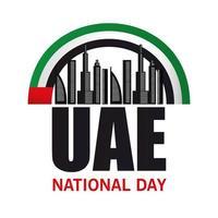 día nacional de los emiratos árabes unidos con diseño vectorial de edificios de la ciudad vector