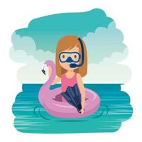 niña con flotador flamenco y snorkel en el mar vector