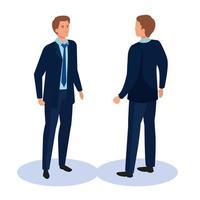 Hombre de negocios de diseño vectorial isométrico frontal y posterior vector